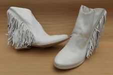 CINZIA ARAIA LEATHER FRINGE ANKLE BOOTS BN GENUINE £400 4.5uk 37.5 SHOES FRINGED