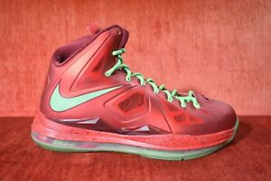 release date f4b87 53b68 Image is loading WORN-TWICE-NIKE-LEBRON-X-10-CHRISTMAS-RED-