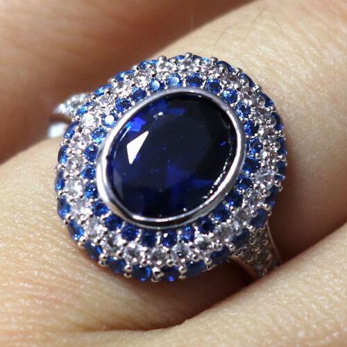 3 Ct ovale saphir bleu Ring Femmes Bijoux 14K blanc plaqué Or livraison gratuite