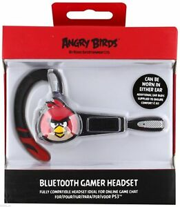 Angry-Birds-Wireless-Headset-Sony-PlayStation-3-Bluetooth-Gamer-PS3-Black-NEW