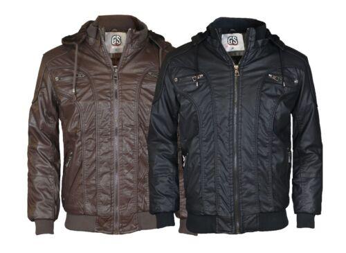 Men/'s Faux Leather Jacket Black Brown Regular fit Biker Motorcycle jacket