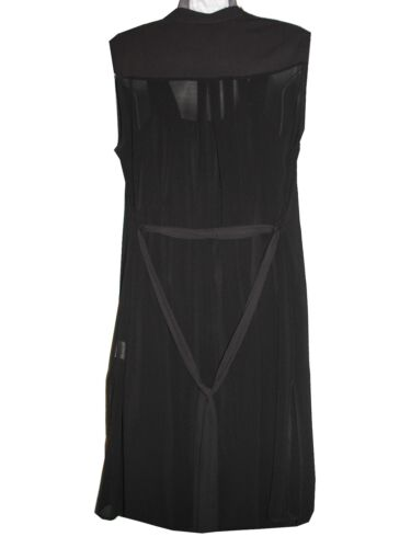 Black midi length button through sleeveless chiffon shirt