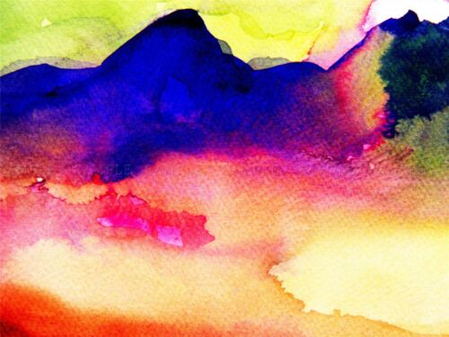 WATERCOLOR PAINTING ABSTRACT LANDSCAPE MOUNTAIN ART PRINT POSTER BMP1047A