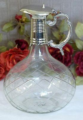 Karaffe Kanne Krug Silber Antik Jugendstil Kristall Glas Luxus Edel Dekanter NEU