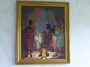 Gemaelde-von-Jose-MALALA-Afrika-Frauen-Feuerstelle-Essen-Zubereitung-Feuer