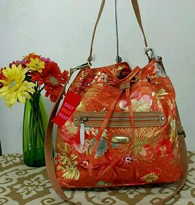 Image Is Loading Oilily Drawstring Handbag Shoulder Bag Tropical Peony Orange