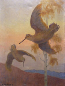 Alfred-Louis-Andrieux-1879-1945-Envol-Woodcock-Chasse-Hunting-Louis-Aragon