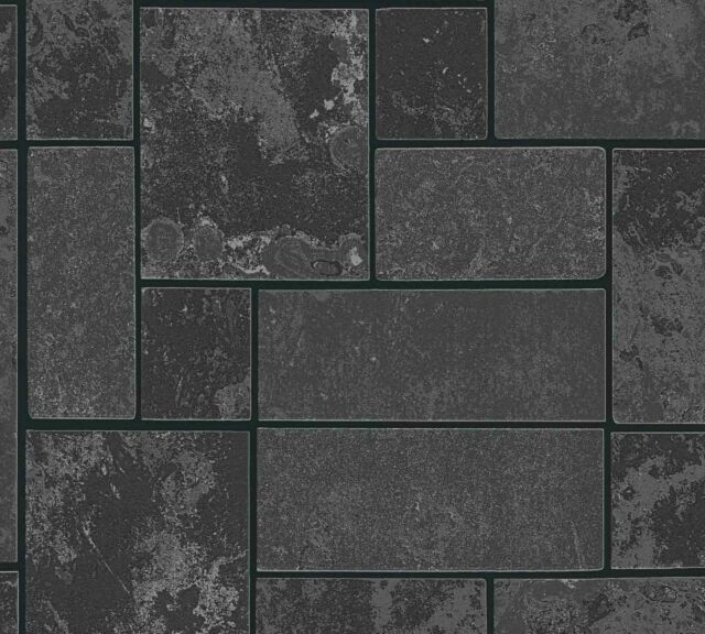 Black Glitter Brick Wallpaper Stone Tile Kitchen Bathroom Textured Vinyl X 3