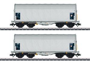 Marklin-47219-Lot-Wagons-a-Bache-Coulissante-Se-Position-de-Montage-Y25Lsd1