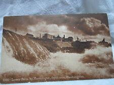 Spokane WA Wash Washington, Lower Falls by moonlight, early postcard  1911