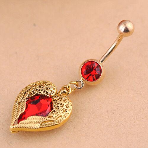 FX HK JN/_ Golden Love Heart Dangle Wing Body Piercing Rhinestone Navel Button