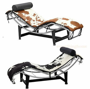 Image Is Loading PONY COWHIDE LC4 LE CORBUSIER STYLE CHAISE BROWN