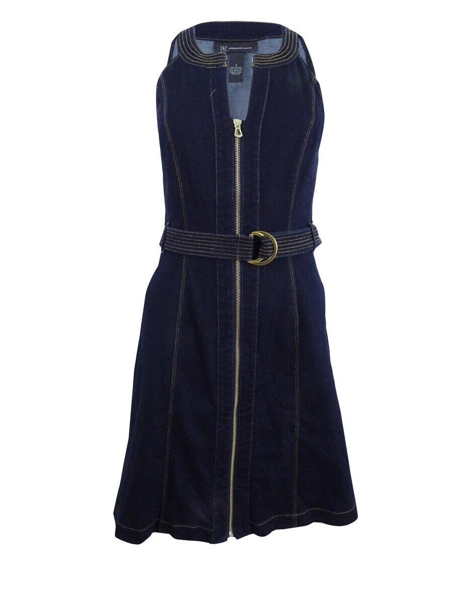 INC International Concepts Women's Belted Denim Sheath Dress (2, Ink Wash)