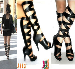 Ladies-Tall-Calf-Knee-High-Leg-Womens-Flat-Strappy-Gladiator-Sandals-Shoes-Sizes