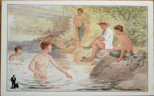 'Walk Over Shoes' 1910 Advertising Postcard Young Men Bathing
