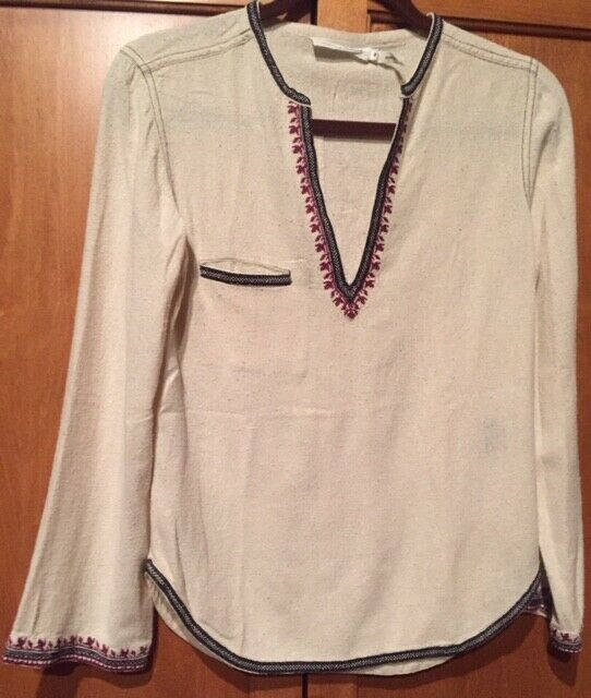 Isabel Marant Etoile 36 4 Cream Multi Farbe Embroiderot Shirt Top Tunic