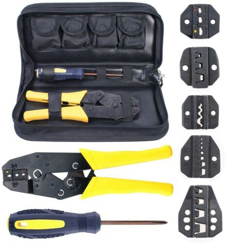 Pack 5 Dies Insulated Terminals Ferrules Plier Ratcheting Crimper Jaws Tool Bag
