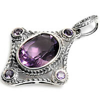 Faceted Amethyst Slide .925 Sterling Silver Pendant on sale