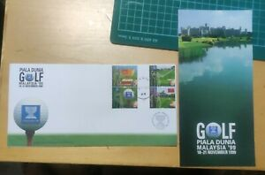 Malaysia 4v Stamp FDC - 1999 World Cup Golf with brochure  (light toned)