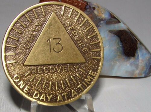 Alcoholics Anonymous AA 13 year Sunshine Bronze Medallion Token chip Coin Sober