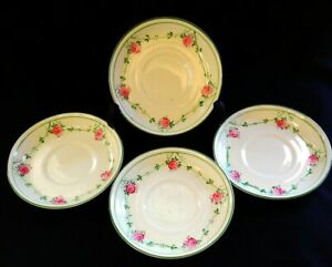 4-x-Antique-Henry-M-Williamson-amp-Sons-Ditsy-Rose-Saucers-FREE-Delivery-UK