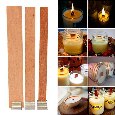 12x 8mm x 90mm Candle Wood Wick with Sustainer Tab Candle Making Supply MAEK