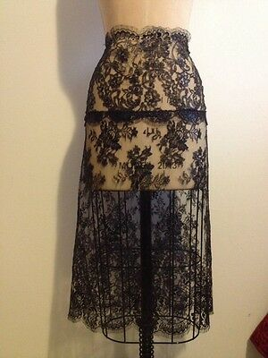 KRIZIA Black Floral Sheer Lace Long Skirt Sz 42 NWT - Sexy - Party