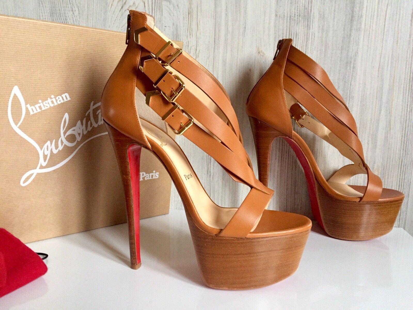 NIB Christian Louboutin 40 Sandals Platform Zip Back Charleze 160 Heels  1295