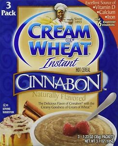 Cream of Wheat Cinnabon flavor Instant Hot Cereal 3.7 ounce (3 Boxes)
