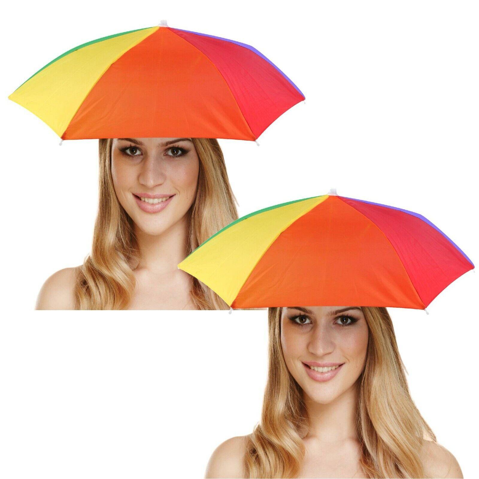 2 x Regenbogen Kopfregenschirm Sonnenschirm Herren Damen Regenschirm Kopfschirm