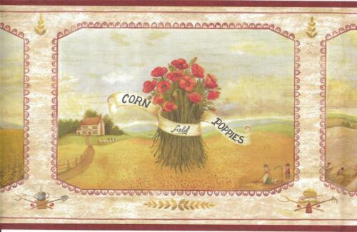 Wallpaper Border Harvest Bouquets Lavender Sunflowers and Poppies with Red Trim