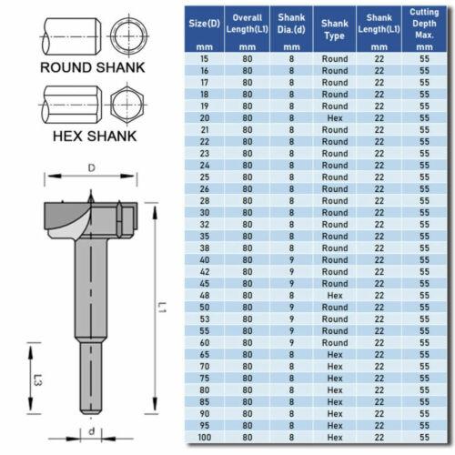 15mm-100mm Forstner Bit Woodworking Drill Bit Set Boring Hole Saw Cutter Carbide