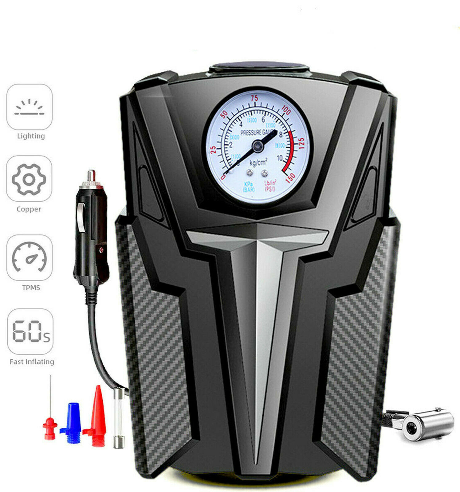 Tire Inflator Car Air Pump Compressor Electric Portable Auto 12V DC Volt 150 PSI. Available Now for 14.89