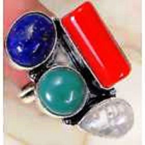 Funky Chunky Lapis Lazuli/multi & 925 Silver Handmade Elegants Ring Size P J1-27