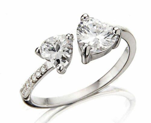Echter 925//.Silber Herz Ring Zirkon Solitär Braut Verlobung Cocktail Statement