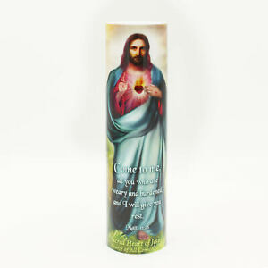 Details about Sacred Heart of Jesus Devotion PRAYER Saint LED Flameless  candle 6 Hour Timer