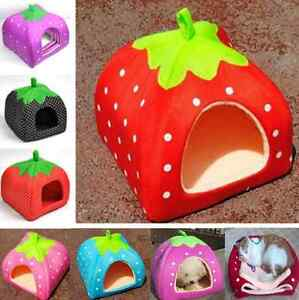 4 Size Strawberry Pet Dog Cat Bed House Kennel Doggy Warm Cushion Basket HS11