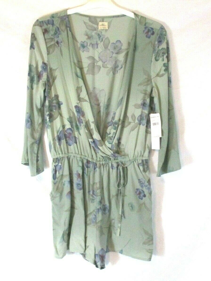 O'Neill Womens Romper Sz Large Green Floral One Piece Cover Up Summer CB19H NWT