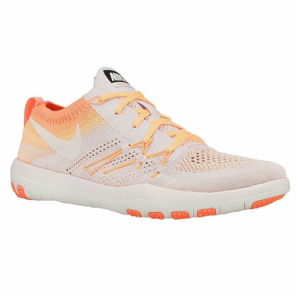 NIKE Womens Free Focus Flyknit Mesh Breathable Trainers White-orange Wild casual shoes