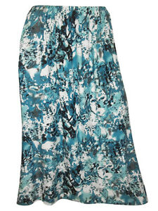 NEW-EX-CHAINSTORE-PLUS-SIZE-TURQUOISE-PRINT-FULL-LENGTH-PULL-ON-FLARE-SKIRT