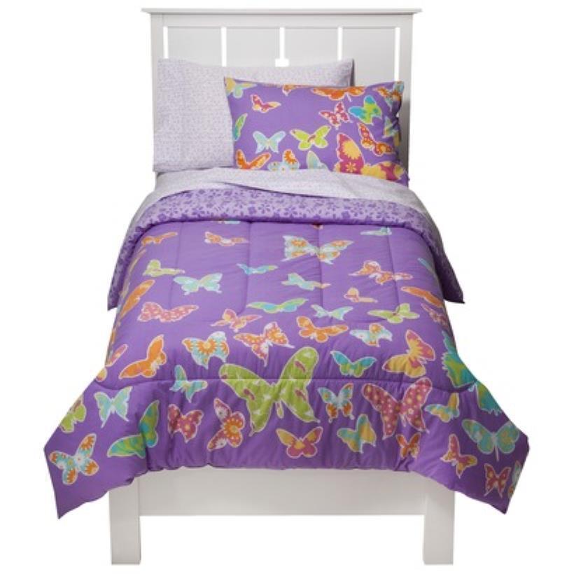 Nouveau Circo papillons violet collection TWIN ensemble de literie 5 pièces réversible