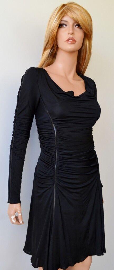 Nouveau KAREN MILLEN DM134 schwarz Sexy Froncée Drapée Cocktail robe de soirée  6 10 38
