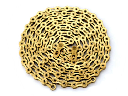 PYC SP9008 9S Ti Gold Bike Hollow Chain 116L Only 257g Lighter than KMC X9SL