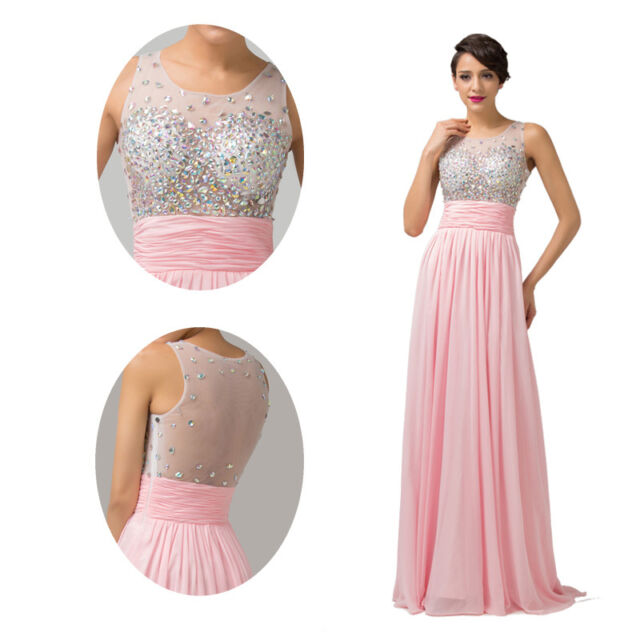 Long Beaded Evening Formal Party Ball Gown Prom Bridesmaid Dance Dress For Women