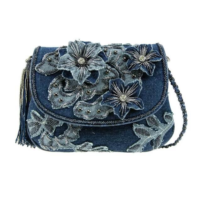 GUESS Nini Bag Purse Handbag Satchel Sac White Stone Multi Denim Jeans New