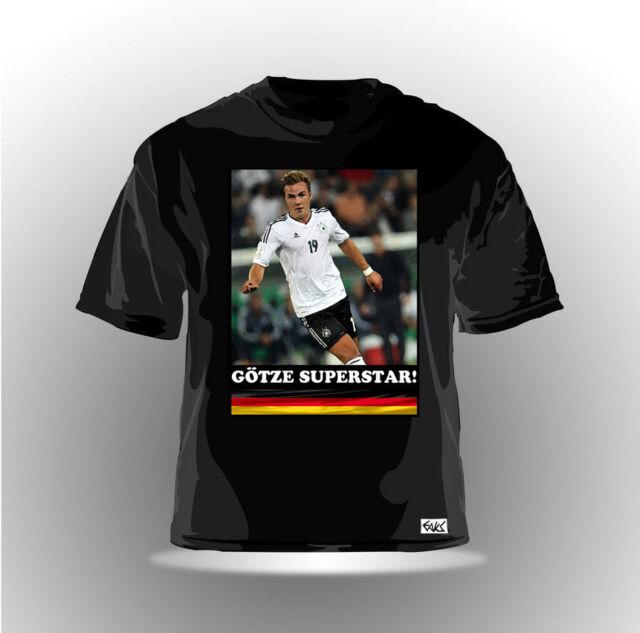 """FAN T-SHIRT WM 2014 Deutschland Mario """"Götze Superstar"""" bl WELTMEISTER Fanshirt"""