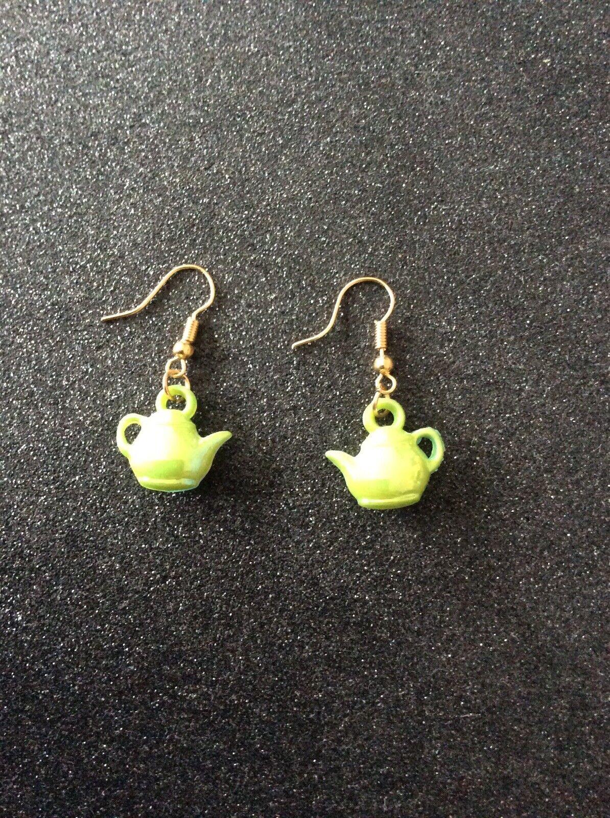 Green Acrylic Teapot Earrings Tea Cafe Kitchen Mad Hatter Tea Party Fancy Dress