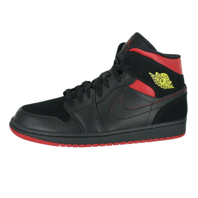 pretty nice c0d7a 24e23 AIR JORDAN 1 MID BLACK TOUR YELLOW GYM RED 554724 076 MENS US SIZES