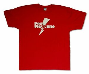 Foo-Fighters-Lightning-Bolt-Red-T-Shirt-New-Official-Adult