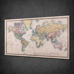 Old vintage world map office home box canvas print wall art picture image is loading old vintage world map office home box canvas gumiabroncs Gallery